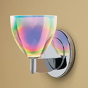 Shown in Rainbow Dichroic glass, Chrome finish