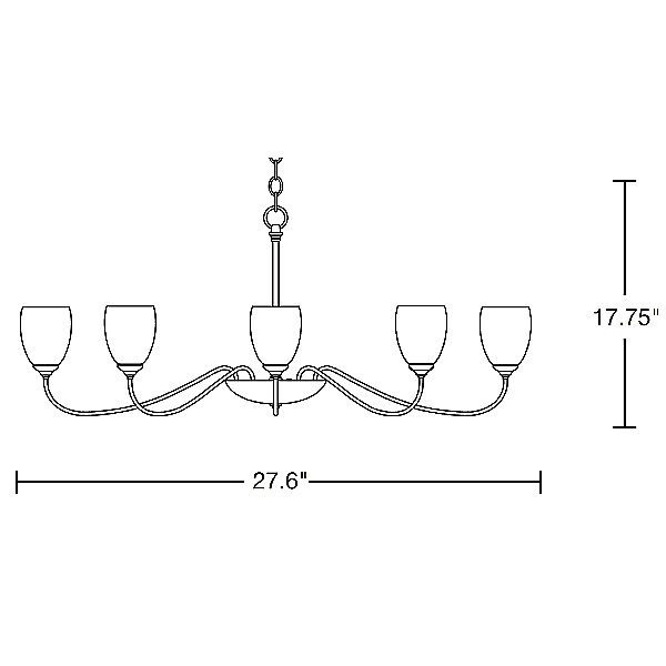 Oval Eight Arms Chandelier With Water Glass