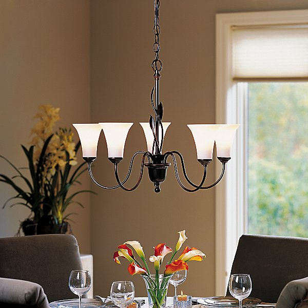 Forged Leaves Five Arms Glass Chandelier