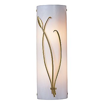 Shown in White Glass color, Gold finish, Left Position