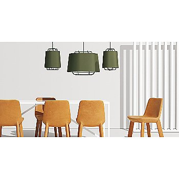 Strut Table with Perimeter Small Pendant Light, Neat Leather Dining Chair and Perimeter Large Pendant Light