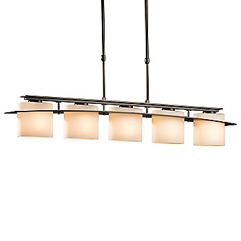 Shown in Stone glass color with Dark Smoke finish, Long Length, 5 light