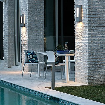 Atlantis Path Light with Atlantis Outdoor Wall Sconce / in use