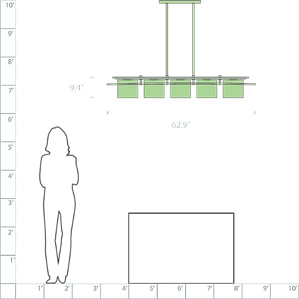 Large-Scale Arc Ellipse 5-Light Adjustable Pendant Light