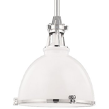 Shown in White with Polished Nickel finish, Medium size