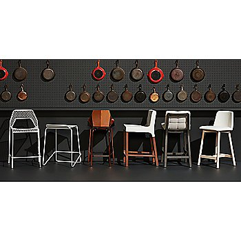 Real Good Stool with Ready Counter Stool, Hot Mesh Counter Stool, Wicket Smoke Counterstool, Chip Leather Stool and Knicker Counterstool