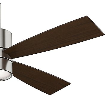 Brushed Nickel finish with Burnt Walnut blades