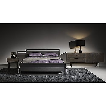 Woodrow Bed with Flask Table Lamp, Shale Bedside Table and Shale 2 Drawer/2 Door Dresser