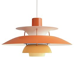 semi pendant light glossy orange finish. PH 5 Pendant Light Semi Glossy Orange Finish