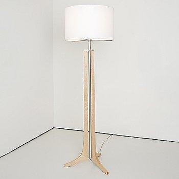 Shown in White Linen shade, Brushed Aluminum finish, Maple