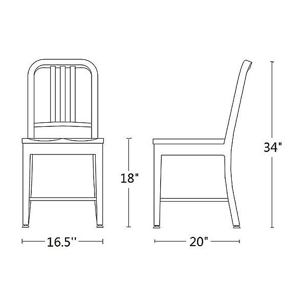 Navy Chair, Wood Seat
