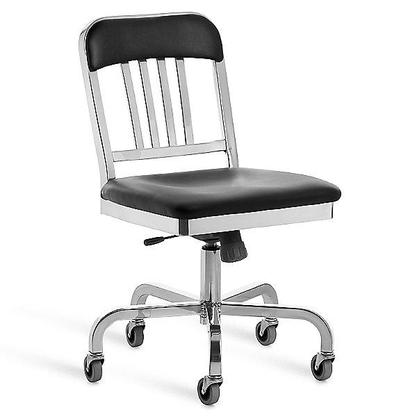 Navy Semi-Upholstered Swivel Chair