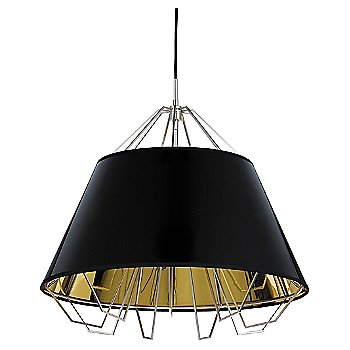 Shown in Gloss Black and Gold shade, Satin Nickel finish, Black cord