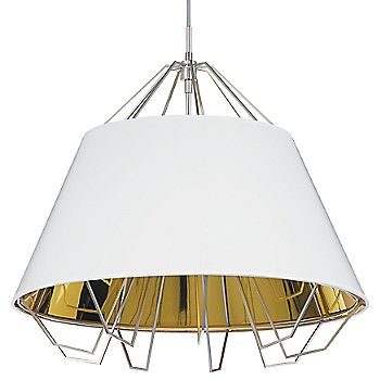 Shown in Gloss White and Gold shade, Satin Nickel finish, Gray cord