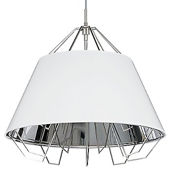 Shown in Gloss White and Silver shade, Satin Nickel finish, Gray cord