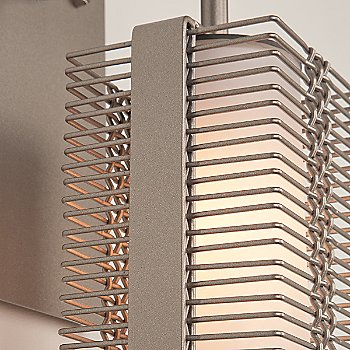 Metallic Beige Silver finish / Frosted Glass / Detail view / illuminated
