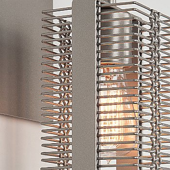 Metallic Beige Silver finish / None, Exposed Lamping / Detail view / illuminated