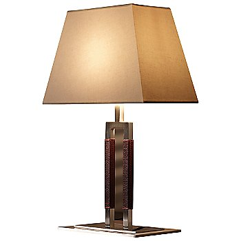 Shown in Nickel Dark Leather finish, Linen shade