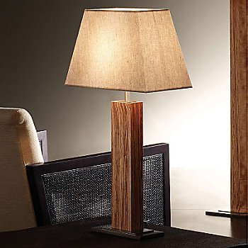 Shown in Nickel Cebrano with Linen shade
