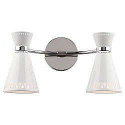 Havana Double Wall Sconce(Powder Coat White/Nickel)-OPEN BOX