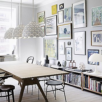 White, grouping in use over dining table