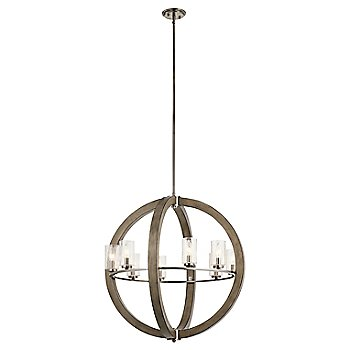 Shown in Distressed Antique Gray finish, 8 Light