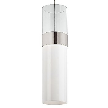 Clear Top shade with White Bottom shade / Satin Nickel with Satin Nickel finish