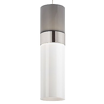 Smoke Top shade with White Bottom shade / Satin Nickel with Satin Nickel finish