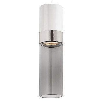 White Top shade with Transparent Smoke Bottom shade / Satin Nickel with Satin Nickel finish