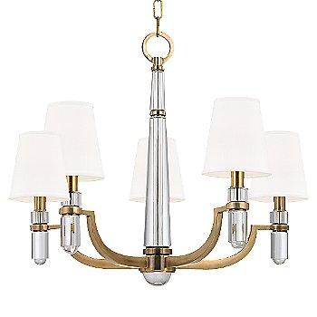Aged Brass finish, White shade, 5 light