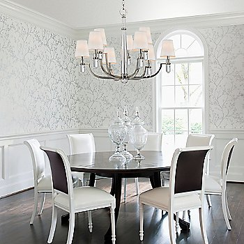 Polished Nickel finish / Cream Eco-Paper shade / 9 light, in use