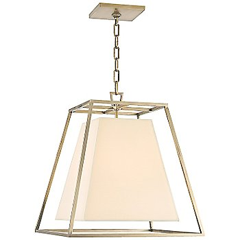 Shown in Aged Brass finish, Cream Faux Silk shade, Small size