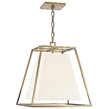 Shown in Aged Brass finish, White Faux Silk shade, Small size