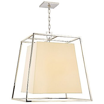 Shown in Polished Nickel finish, Cream Eco-Paper shade, Large size