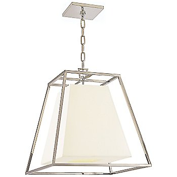 Shown in Polished Nickel finish, White Shade, Small size