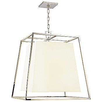Shown in Polished Nickel finish, White Shade, Large size