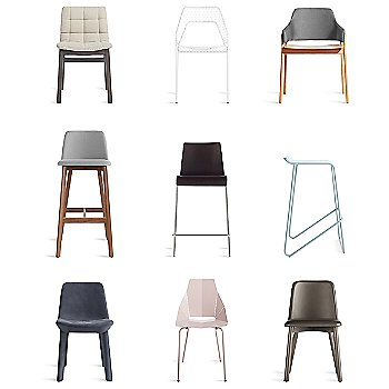 Clutch Lounge Chair with Hot Mesh Chair, Ready Barstool, Chip Bar Stool, Real Good Chair, Neat Leather Dining Chair, Wicket Smoke Counterstool and Chip Leather Dining Chair