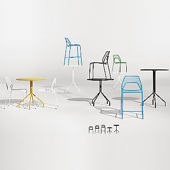 Hot Mesh Chair with Hot Mesh Counter Stool, Hot Mesh Bar Stool, Hot Mesh Bar Table and Hot Mesh Cafe Table
