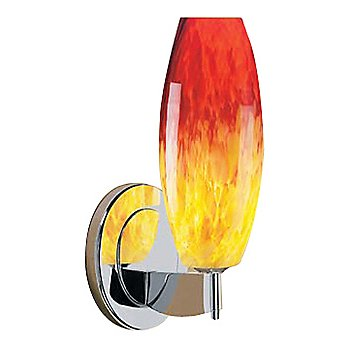 Shown in Yellow and Red glass, Chrome finish